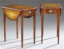 Pair of American Sheraton Style Carved Mahogany Leather