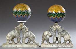 Unusual Pair of Art Deco Carved Marble Table Lamps,