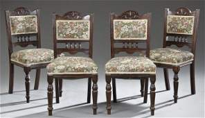 Six Piece English Victorian Carved Mahogany Parlor