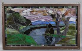 American Slag Stained Glass Panel, c. 1880, depicting a