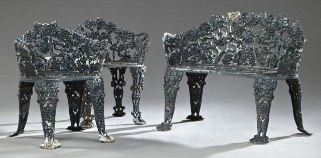 Set of Three Vintage Motif Cast Aluminum Garden Seats,