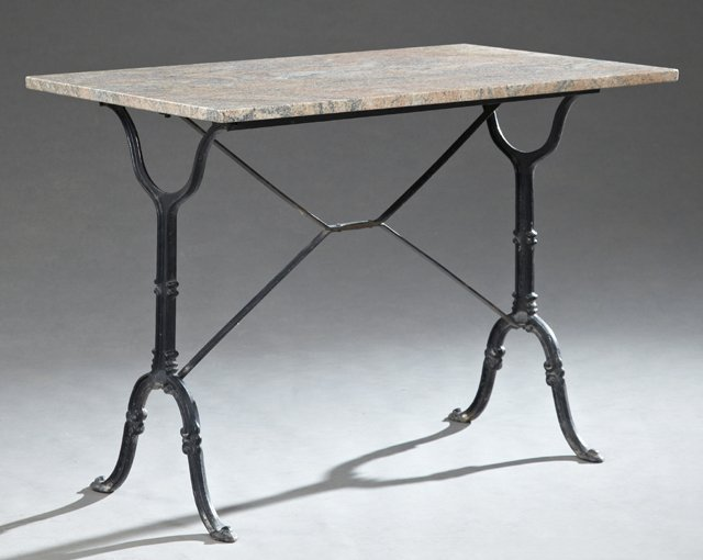 French Industrial Cast Iron Granite Top Bistro Table,