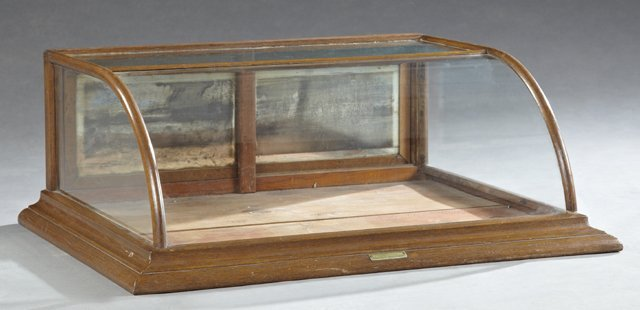 American Carved Oak Curved Glass Counter Display Case,