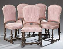 Set of Five (4 + 1) Continental Style Carved Walnut