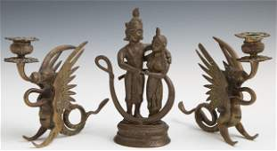 Three Bronze Pieces early 20th c consisting of a