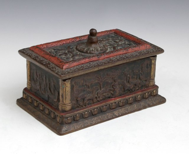 Patinated Bronze Jewel Casket, late 19th c., with