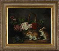 Chinese School Still Life with Bunnies and Flowers