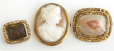 Group of Three Antique Gold Plated Brooches, late 19th