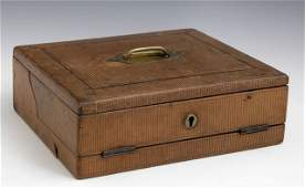 English Leather Lap Desk, c. 1900, the interior fitted