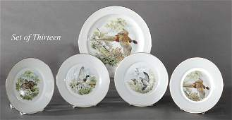 Thirteen Piece Limoges Porcelain Game Set, early 20th