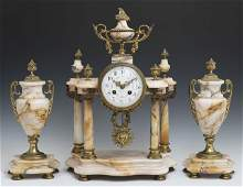 Louis XVI Style Three Piece Gilt Bronze and Pink Marble