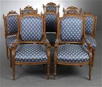 Set of Eight Louis XVI Style Carved Walnut Salon