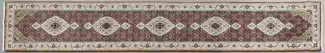 Wool and Silk Tabriz Mahi Runner, 2' 8 x 14' 6.