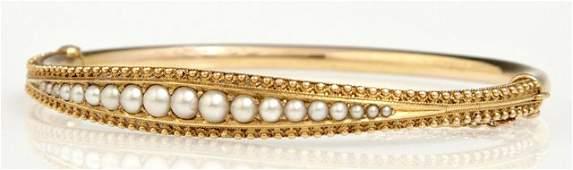 15K Yellow Gold Hinged Bangle Bracelet, early 20th c.,