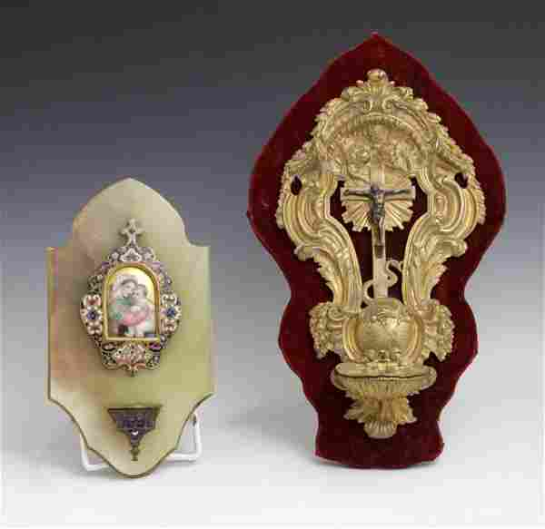 Two French Holy Water Fonts, circa 1900, one example
