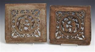 Pair of Chinese Pierced Carved Wooden Panels 19th c