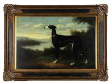 Chinese School The Whippet 20th c oil on canvas