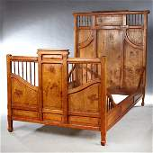 French Art Nouveau Carved Elm and Cherry Bed late 19th
