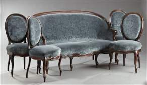 Five Piece American Rococo Revival Carved Rosewood
