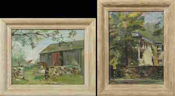"""American School, """"The Old Barn,"""" and """"House Behind a"""