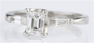 Lady's Platinum Diamond Dinner Ring, with a one carat