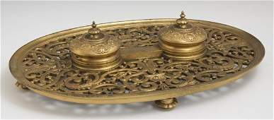 French Gilt Bronze Double Inkstand 19th c the two