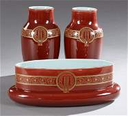French Majolica Three Piece Garniture Set, 20th c., by