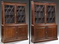 Pair of Edwardian Carved Mahogany Bookcase Cupboards,
