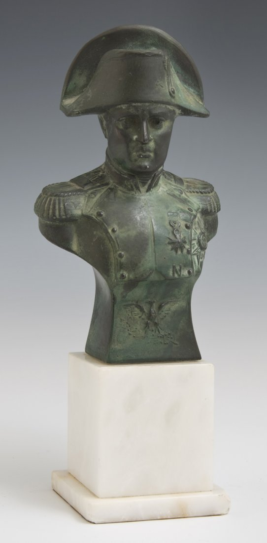 Patinated Bronze Bust of Napoleon, 20th c., on a white