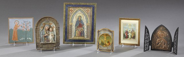 Group of Six French Religious Objects, 20th c.,