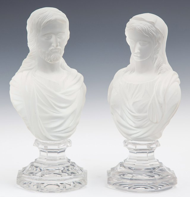 """Jesus,"" and ""Mary,"" 20th c., pair of Baccarat frosted"