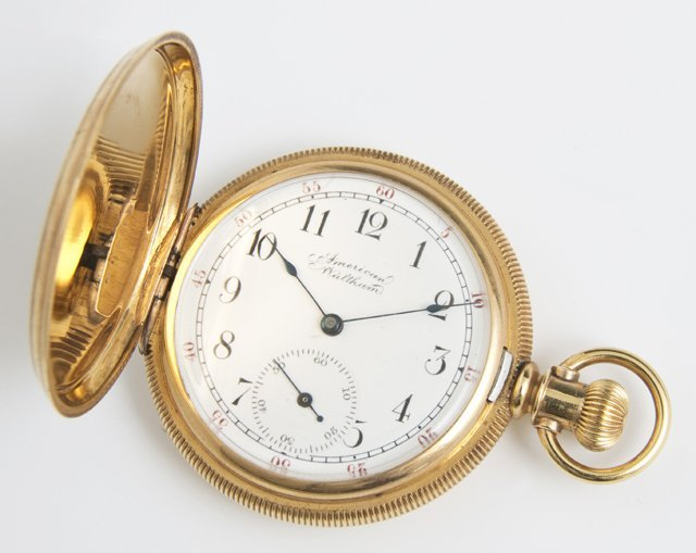 18K Yellow Gold Waltham Hunting Case Pocket Watch, ser