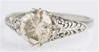 Ladys 14K White Gold Diamond Solitaire early 20th c