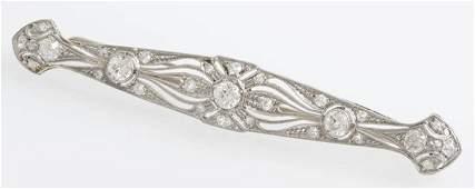 Platinum Bar Pin, c. 1920, with a central 1 3/4 carat