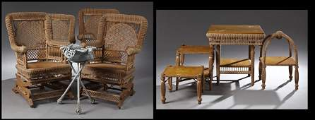 Nine Pieces of American Late Victorian Wicker Parlor