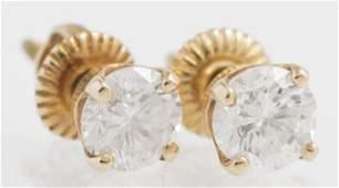 Pair of 14K Yellow Gold Diamond Stud Earrings,