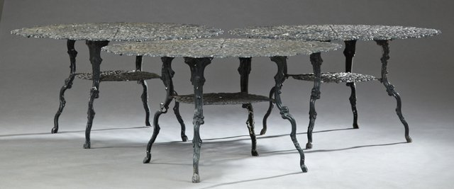 Set of Three Cast Aluminum Aesthetic Patio Tables, 20th