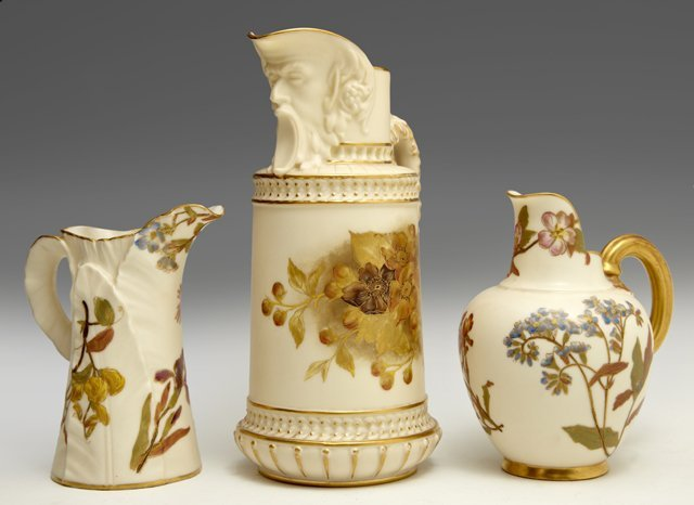 Group of Three Royal Worcester Pitchers, consisting of