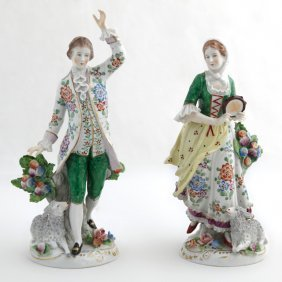Pair Of Continental Porcelain Figures, Early 20th C.,