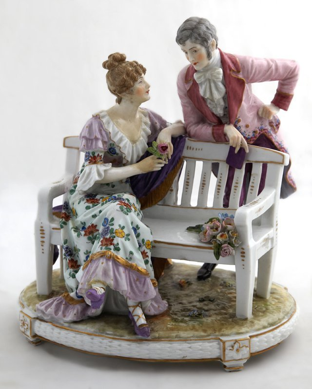 Meissen Style Polychromed Porcelain Figural Group,