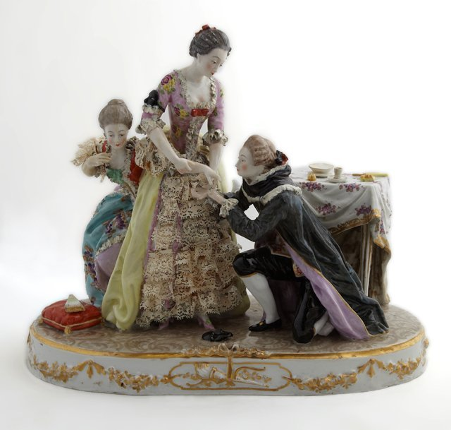 Continental Polychromed Porcelain Figural Group, early