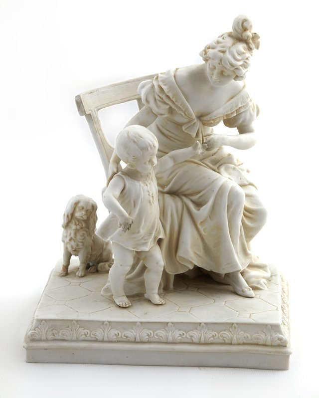 German Bisque Group, c. 1900, with a mother, child and