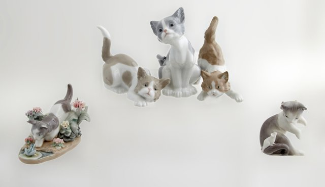 Group of Five Lladro Cat Figures, consisting of cat