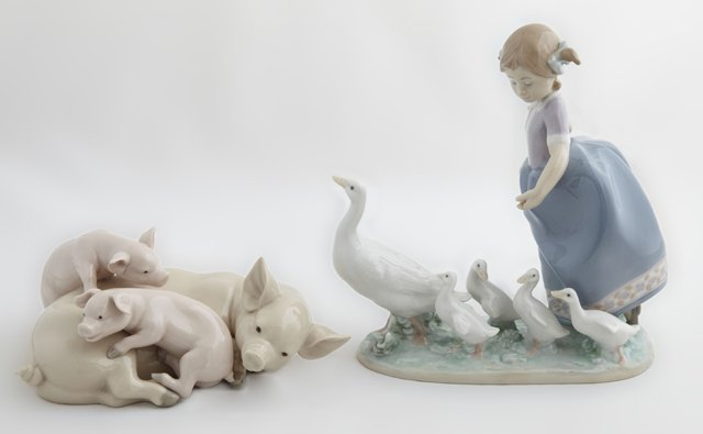 """Two Lladro Figures, consisting of #5228, """"Playful"""