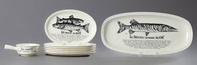 Eight Piece French Ceramic Fish Set, 20th c., by Gien,