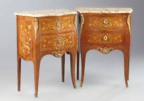 Pair Of French Louis Xv Style Marquetry Inlaid Marble