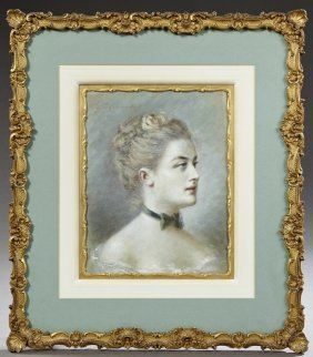 "Continental School, ""portrait Of A Young Lady With A"