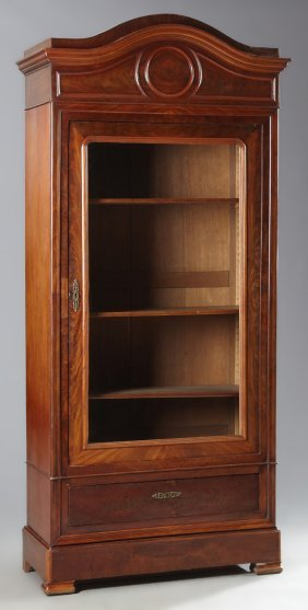 French Louis Philippe Style Carved Mahogany Armoire,