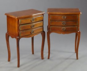 Pair Of French Louis Xv Style Carved Cherry Bowfront