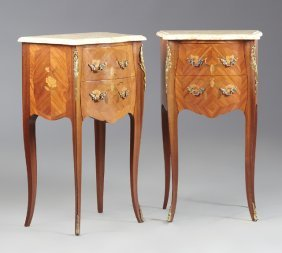 Pair Of French Louis Xv Style Marquetry Inlaid Ormolu